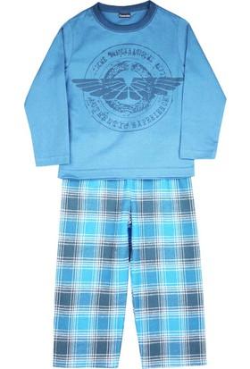 Karamela Erkek Çocuk Pijama, Pilot Mavi Ekose