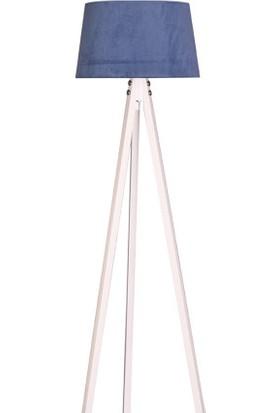 Ege Light 3 Ayaklı Beyaz Lambader Mavi Şapka