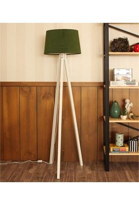Ege Light 3 Ayaklı Beyaz Lambader Koyu Yeşil Şapka