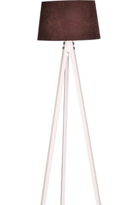 Ege Light 3 Ayaklı Beyaz Lambader Kahve Şapka