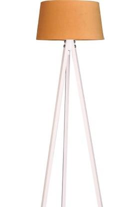 Ege Light 3 Ayaklı Beyaz Lambader Hardal Şapka