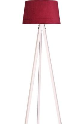Ege Light 3 Ayaklı Beyaz Lambader Bordo Şapka