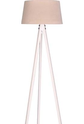Ege Light 3 Ayaklı Beyaz Lambader Krem Şapka