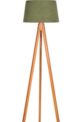 Ege Light 3 Ayaklı Naturel Lambader Koyu Yeşil Şapka