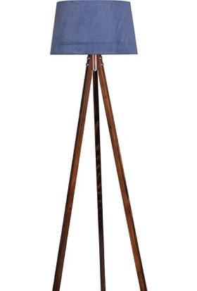 Ege Light 3 Ayaklı Ceviz Lambader Mavi Şapka