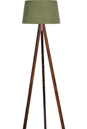 Ege Light 3 Ayaklı Ceviz Lambader Koyu Yeşil Şapka