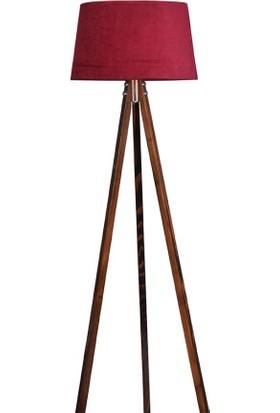 Ege Light 3 Ayaklı Ceviz Lambader Bordo Şapka