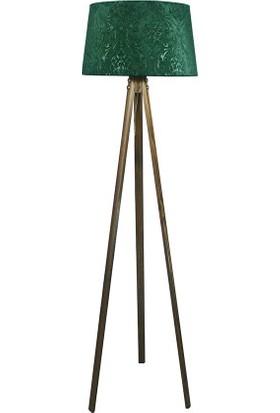 Lambada Delüx Serisi Üç Ayaklı Lambader Zümrüt Yeşil /Ceviz
