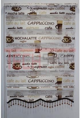 Techstor Cappuccino Baskılı Kahverengi Mutfak Zebra Perde