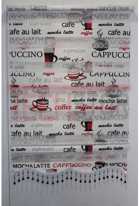 Techstor Cappuccino Baskılı Siyah-Kırmızı Zebra Perde