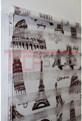 Techstor Roma Paris Baskılı Zebra Perde