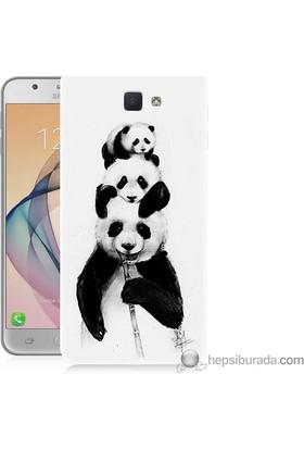 Teknomeg Samsung Galaxy J7 Prime Kapak Kılıf Panda Ailesi Baskılı Silikon
