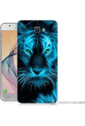 Teknomeg Samsung Galaxy J7 Prime Kapak Kılıf Mavi Kaplan Baskılı Silikon