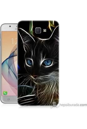 Teknomeg Samsung Galaxy J7 Prime Kapak Kılıf Dumanlı Kedi Baskılı Silikon