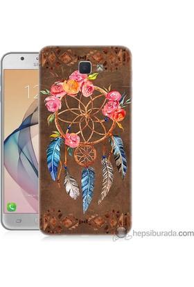 Teknomeg Samsung Galaxy J7 Prime Kapak Kılıf Çiçekli Dreamcatcher Baskılı Silikon