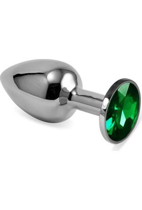 Lovetoys Gümüş Metal Yeşil Taşlı Lüks Küçük Boy Anal Plug 7 Cm