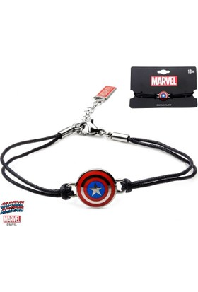 Body Vibe Marvel Captain Amrica Shield Logo Deri Bileklik
