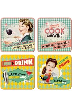 Nostalgic Art Say It 50S Drink Wine Bardak Altlığı 9 X 9 Cm (4 Lü Set)