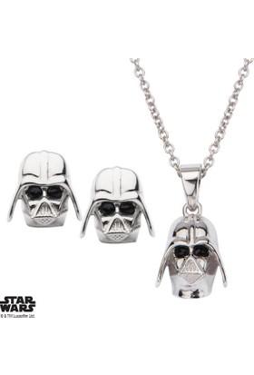 Body Vibe Star Wars Darth Vader 3D Stud Gümüş Küpe Ve Kolye Seti