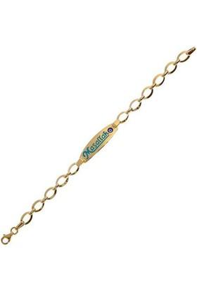 Aydın Mücevherat Maşallah Künye Mineli 3,56 Gram 14 Ayar Altın