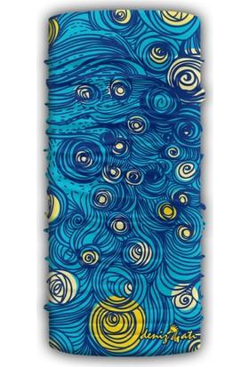 Denizatı Mavi-Sarı Desenli Bandana