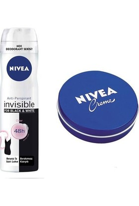 Nivea Deodorant Black&White İnvisible 150 Ml + Nivea Creme 30 Ml