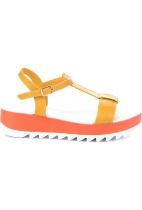 Simoty Kadın Sarı Dolgu Topuk Sandalet
