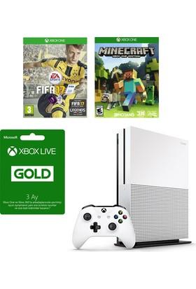 Xbox One S 500Gb + Fifa 17 Oyun Konsolu + Minecraft Hediye