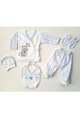 Sevimli Ayıcık 5 Parça Organik Erkek Bebek Hastane Çıkışı Zıbın Seti