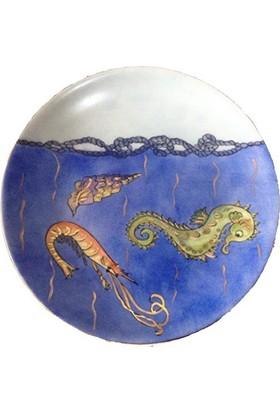 Vago Minds El Boyama Altın Süslemeli Porselen Tabak / Okyanus