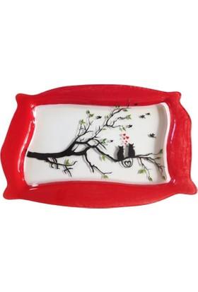 Vago Minds El Boyama Dekoratif Servis Tabak - Kırmızı Kenar - Kediler