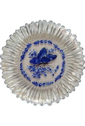 Vago Minds El Boyama Dekoratif Pasta Tabağı - Şeffaf / Mavi Kelebek