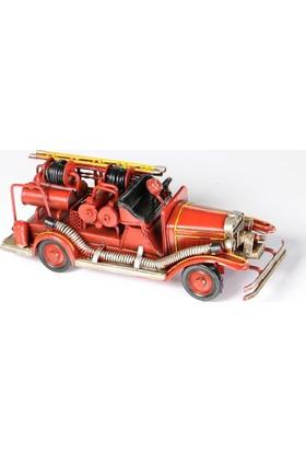 Mnk El Yapımı Nostaljik Metal İtfaiye Arabası 1110A-4526