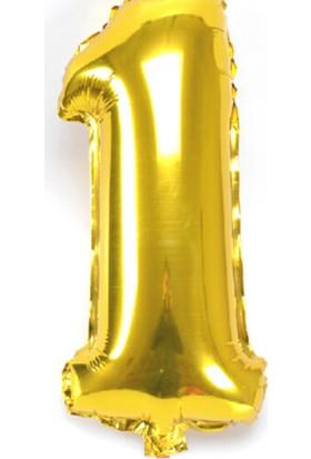 Qr Party 1 Numara İlk Yaş Doğum Günü Balonu 100 cm Folyo Balon Sarı