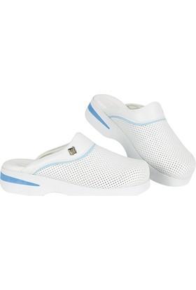 Wollex Ortopedik Sabo Comfort Klasik Bayan Terlik (Beyaz-Mavi) Wcst-1996
