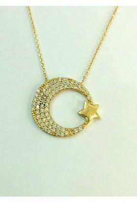 Aydın Mücevherat 14 Ayar Ay Yıldız Taşlı Kolye