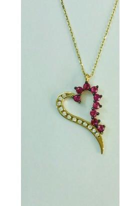Aydın Mücevherat 14 Ayar Kalpli Renkli Taşlı Kolye