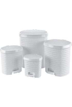 Tuffex Örme Pedallı Çöp Kovası 4 Lü Set - Beyaz