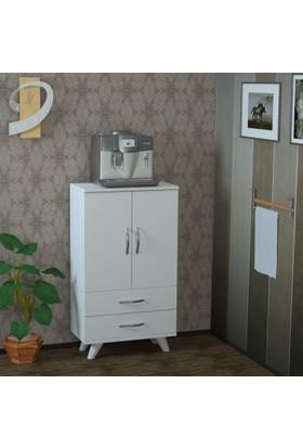 Pegai Nora Kısa 2 Kapak 2 Çekmece Mutfak Dolabı Beyaz M11