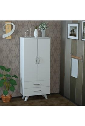 Pegai Nora Uzun 2 Kapak 2 Çekmece Mutfak Dolabı Beyaz M13