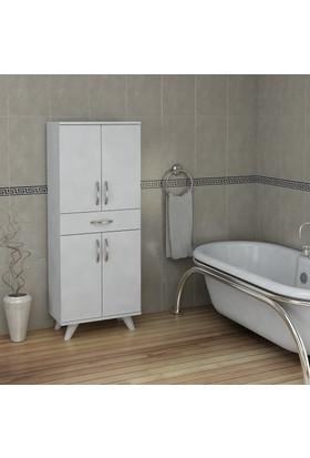 Pegai Nora 4 Kapak 1 Çekmece Banyo Dolabı Beyaz 03