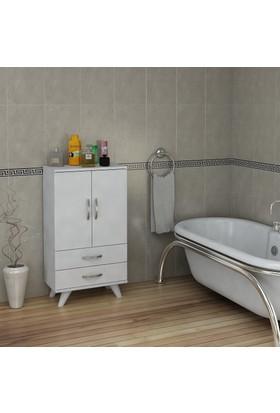 Pegai Nora Kısa 2 Kapak 2 Çekmece Banyo Dolabı Beyaz 11