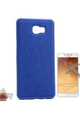 Teleplus Samsung Galaxy C9 Pro Kumaş Kaplama Silikon Kılıf + Cam Ekran Koruyucu