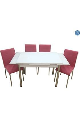 Evistro Açılır Ahşap Mutfak Masa Sandalye Takımı 6+1