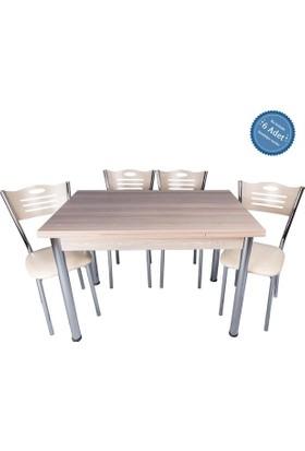 Evistro Açılır Ahşap Mutfak Masa Sandalye Takımı 6+1 Kordoba