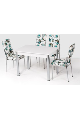 Azzore Mutfak Masası Takımı - Yeşil Çiçekli