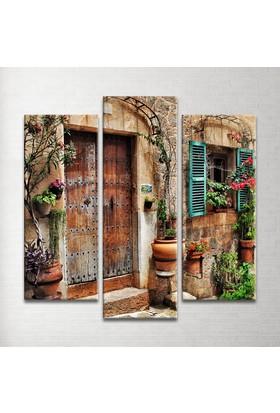 Plustablo Vintage Kapı Dekoratif 3 Parça Kanvas Tablo