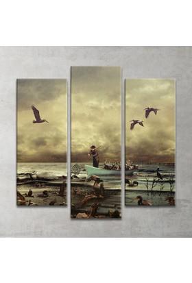 Plustablo Balıkçı Ve Pelikanlar 3 Parça Kanvas Tablo