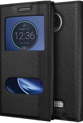 Microsonic Motorola Moto Z Kılıf Gizli Mıknatıslı Dual View Delux