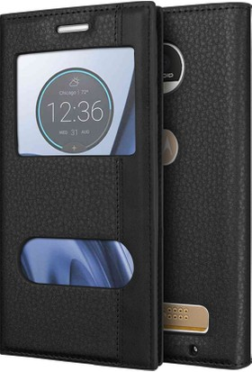 Microsonic Motorola Moto Z Play Kılıf Gizli Mıknatıslı Dual View Delux